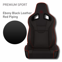 Lotus Elise - Ebony Black Leather with Red Piping